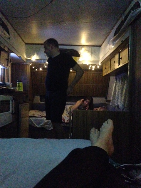 First night in the caravan, fairy lights and solar power!